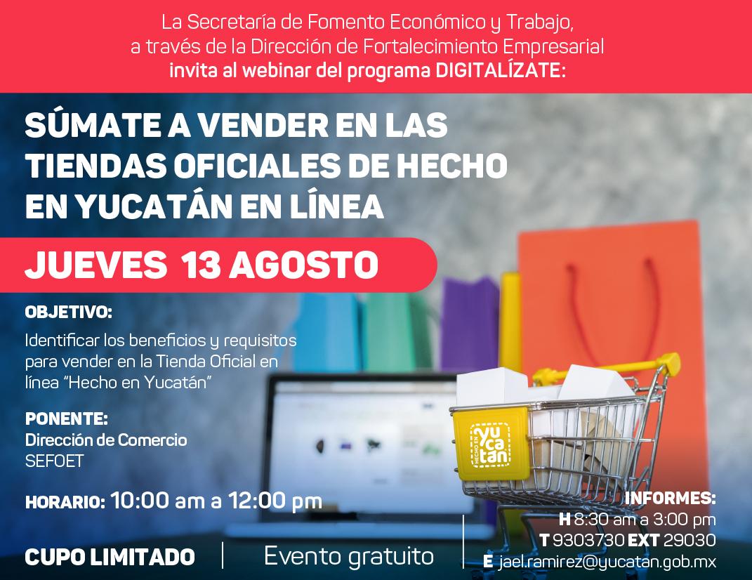Tema 4: Súmate a vender en las tiendas oficiales de Hecho Yucatán en línea